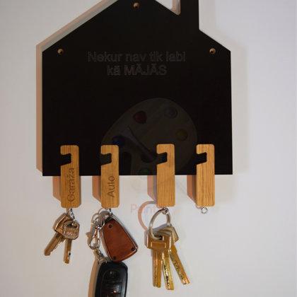 Atslēgu māja ar personalizētiem atslēgu piekariņiem - viedtālruņu turētājiem